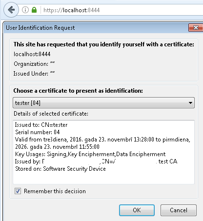 Client certificate selection window (Firefox)